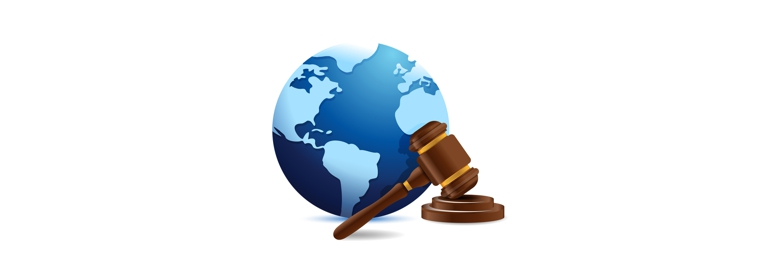 international globe and gavel